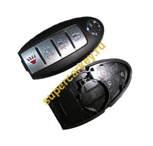 Nissan корпус смарт ключа 4 кнопки (со слотом)