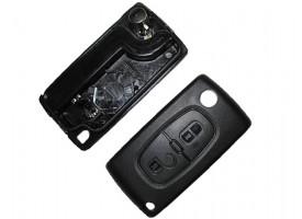 Citroen(Ситроэн) корпус выкидного ключа 2 кнопки. Внимание:: 2 варианта расположения батарейки ( Смотрите описание)