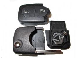 Audi корпус выкидного ключа 2 кнопки (с местом под 2 батарейки). Европа