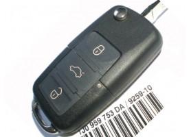 Skoda(Шкода) выкидной ключ с дистанционным управлением 3 кнопки. C 2005 года. Европа. Номер:: 1KO 959 753 G